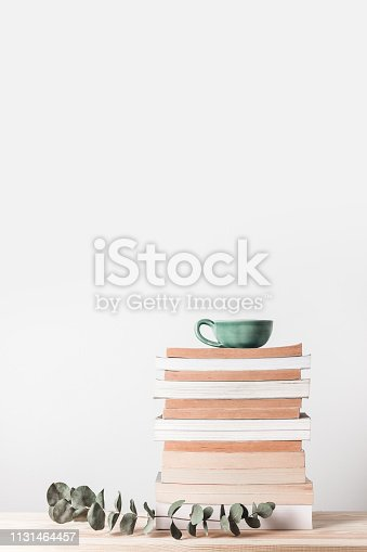 istock Stack of books and eucalyptus branch 1131464457