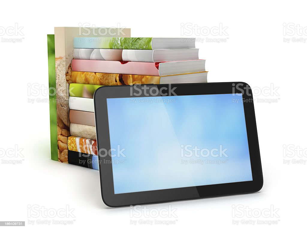 Stack of books and tablet computer royalty-free stock photo