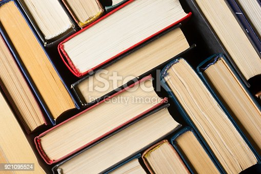 1034955096 istock photo Stack of books background. many books piles. 921095524