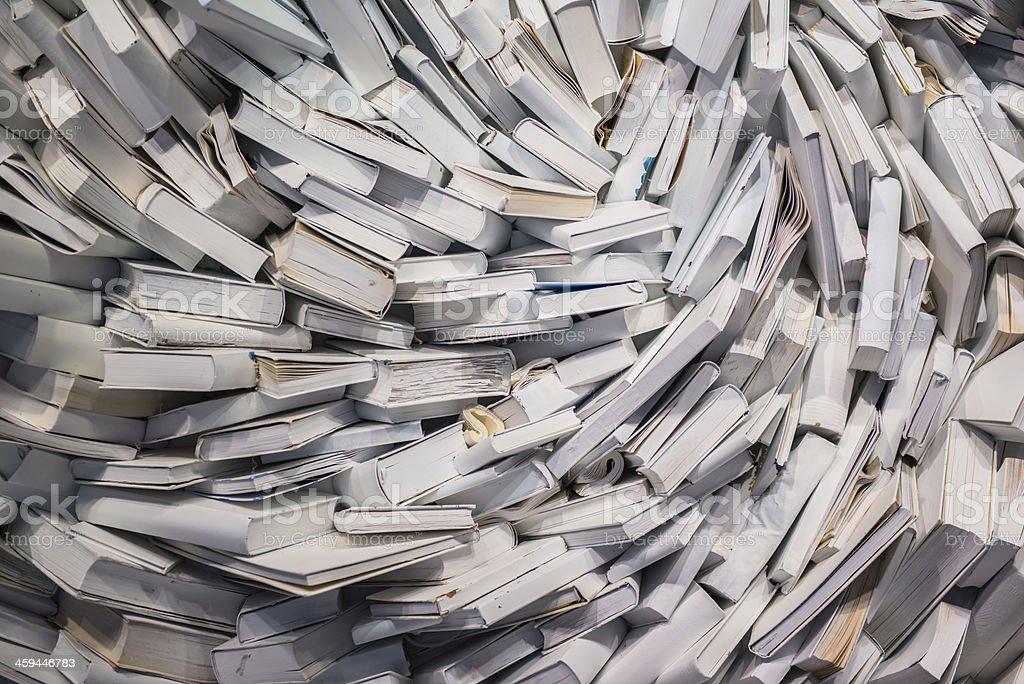 stack of books closeup on white background royalty-free stock photo