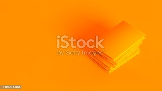 istock Stack of books. Conceptual stereoscopic image of 3d rendered books, fully toned in orange color. 1184800564