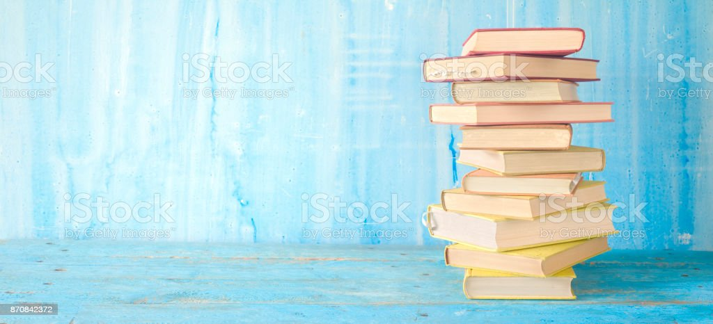 Stack of books, good copy space stock photo