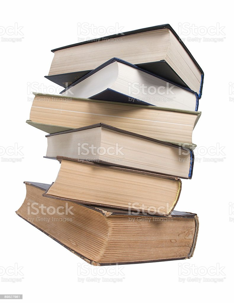 Stack of books isolated on the white royalty-free stock photo