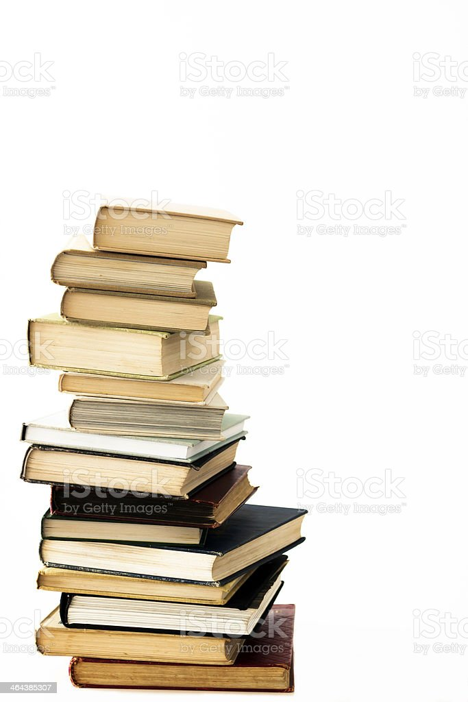 Stack of Books isolated on white background, copy space royalty-free stock photo