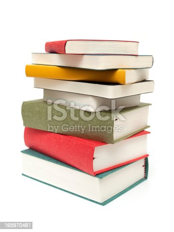 istock Stack of books isolated on white background 165970461
