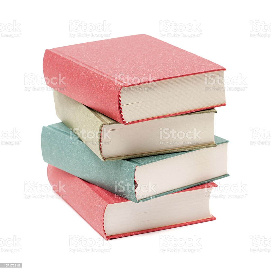 Stack of books isolated on white background stock photo