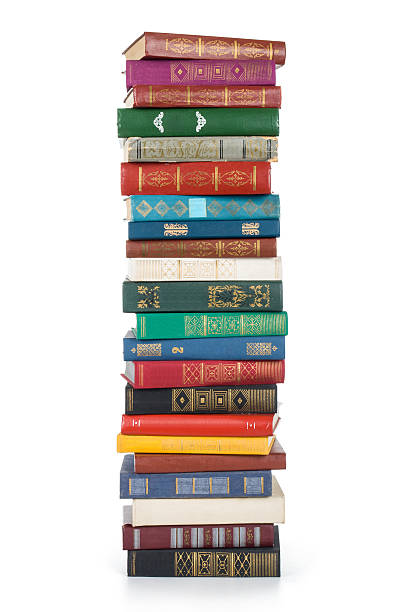 stack of books isolated on white background - stack stock pictures, royalty-free photos & images