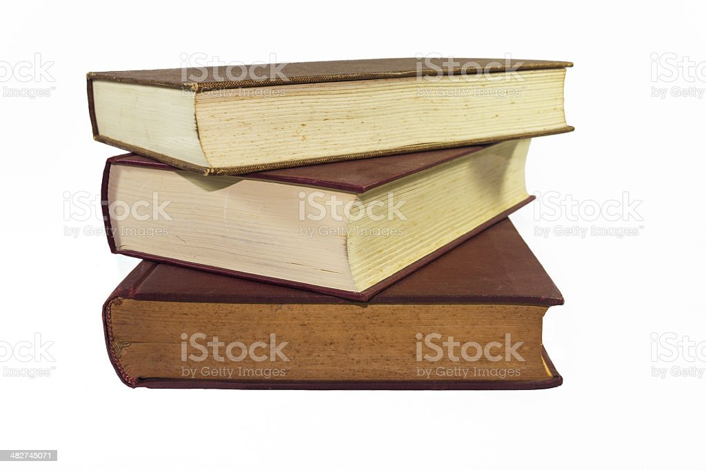 Stack of books isolated on white royalty-free stock photo