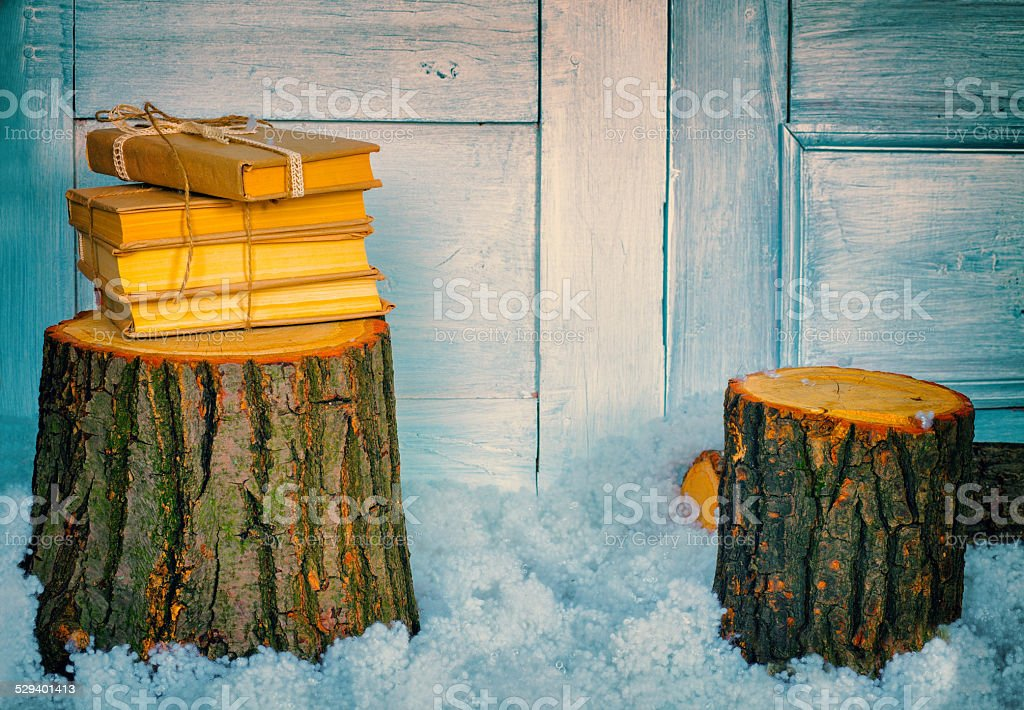 Stack of books on a stump stock photo
