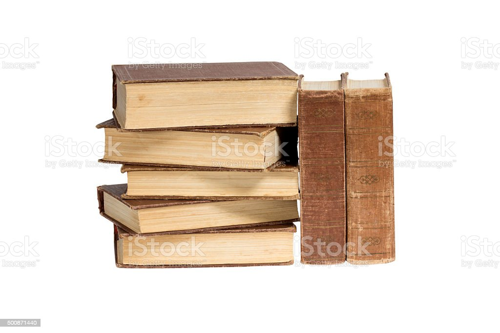 Stack of books on a white background stock photo