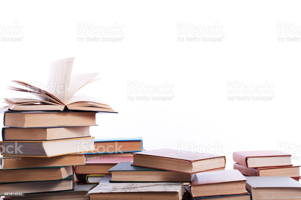 Stack of books on white background. Education concept. Back to stock photo