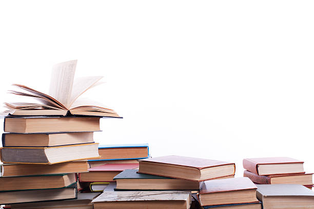 stack of books on white background. education concept. back to - offene regale stock-fotos und bilder