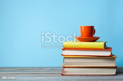istock Stack of books on wooden table. Education background. Back to school.Copy space for text. 890154858