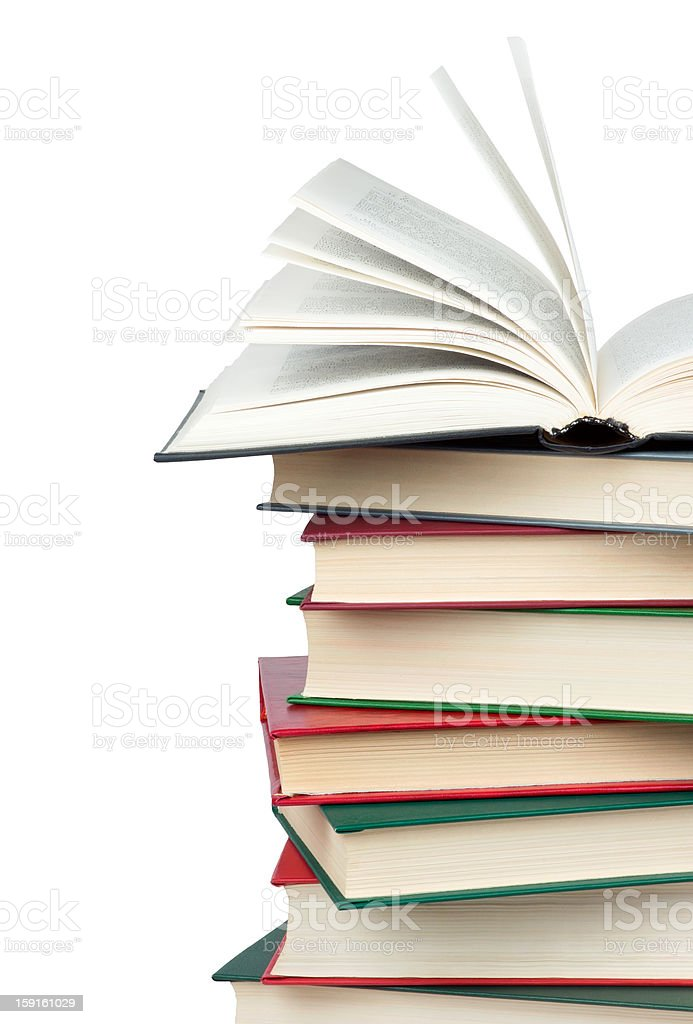 Stack of books. Open book. royalty-free stock photo