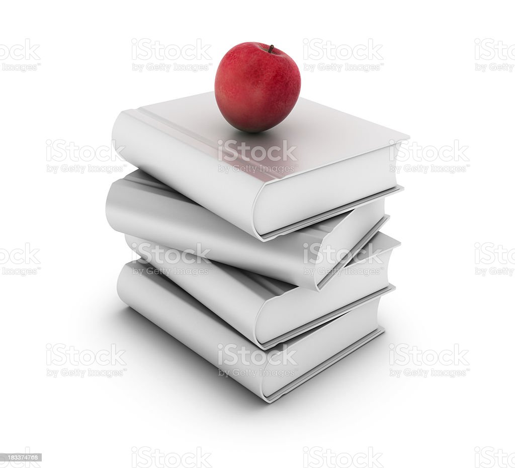 Stack of Books with an Apple stock photo