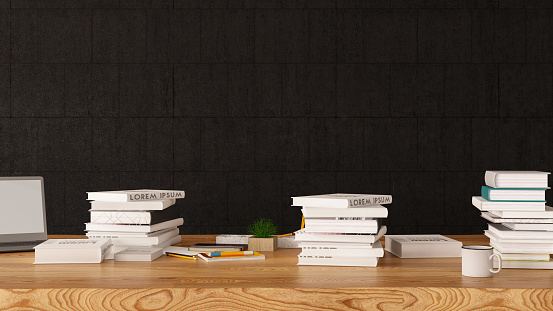 Stack of Books with Black Wall . 3d Render
