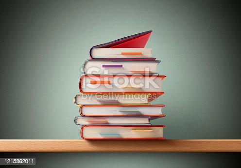 Abstract blurred of stops of books, textbooks or fiction in book store or in library. Education, school, study, reading fiction concept. For abstract backdrop