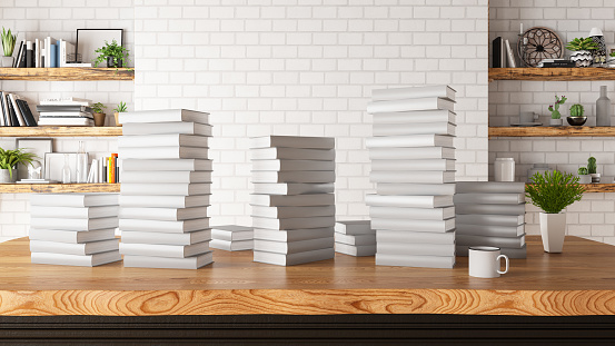 Stack of Books with Brick Wall amd Shelves. 3d Render