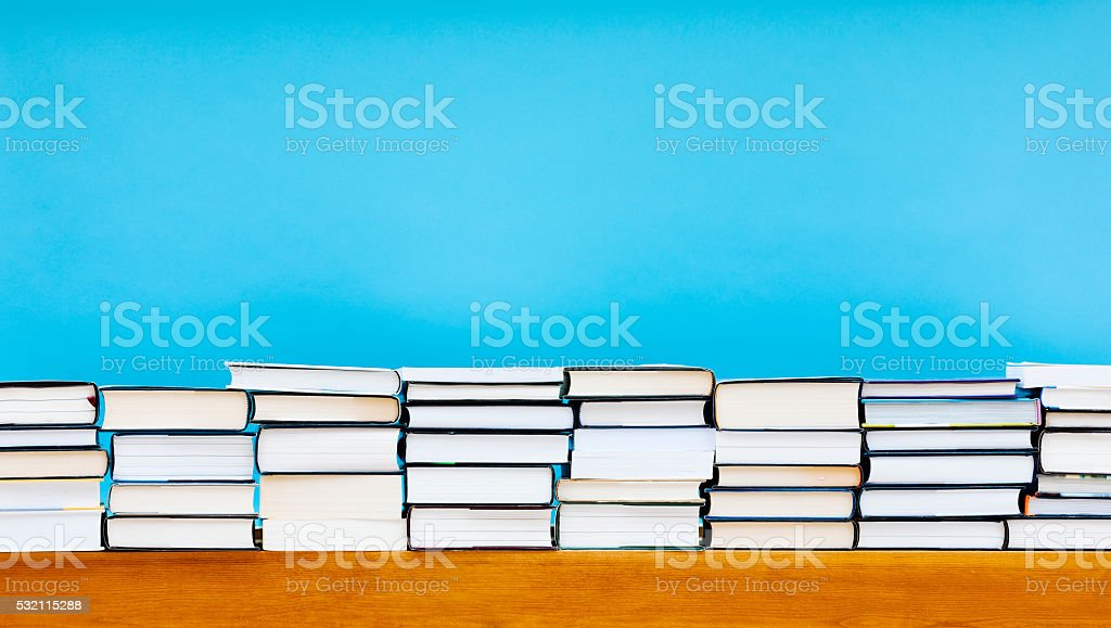 Stack of books with copy space. stock photo