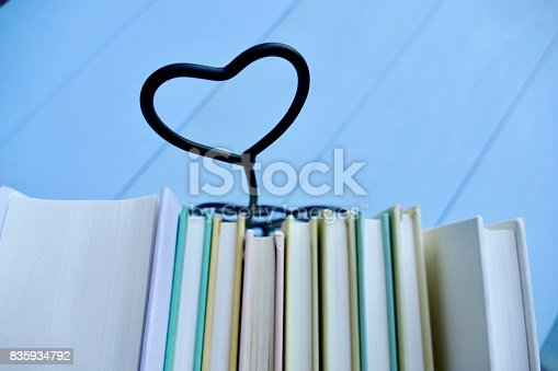 istock Stack of books with heart symbol behind 835934792
