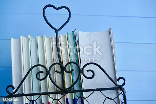 istock Stack of books with heart symbol 835934664