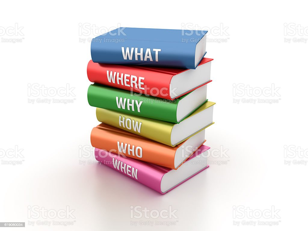 Stack of Books with Questions stock photo