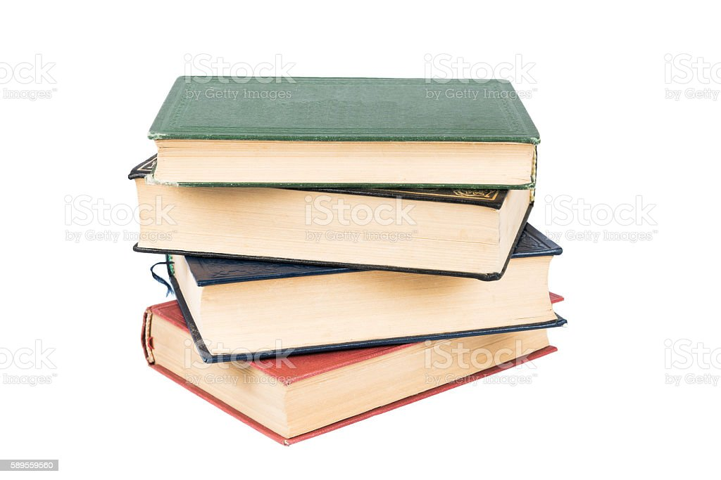 Stack of books with white background stock photo