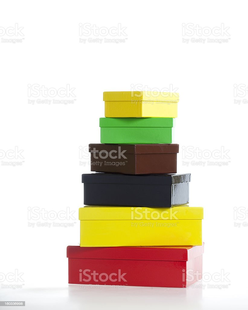 Stack of Boxes - Six colors royalty-free stock photo