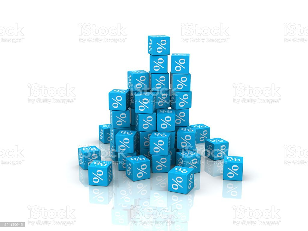 Stack of boxes with percent sign stock photo