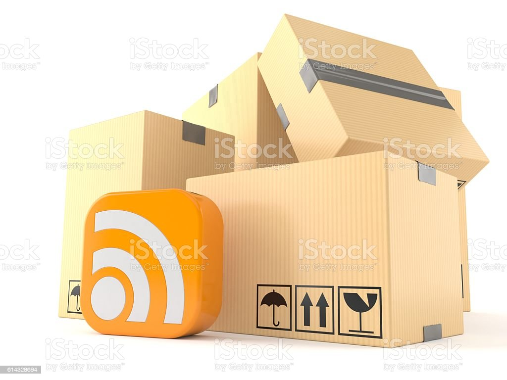 Stack of boxes with rss icon stock photo