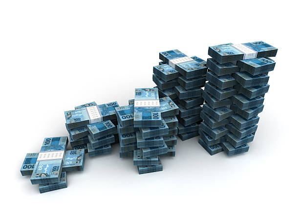Stack of Brazilian Real stock photo