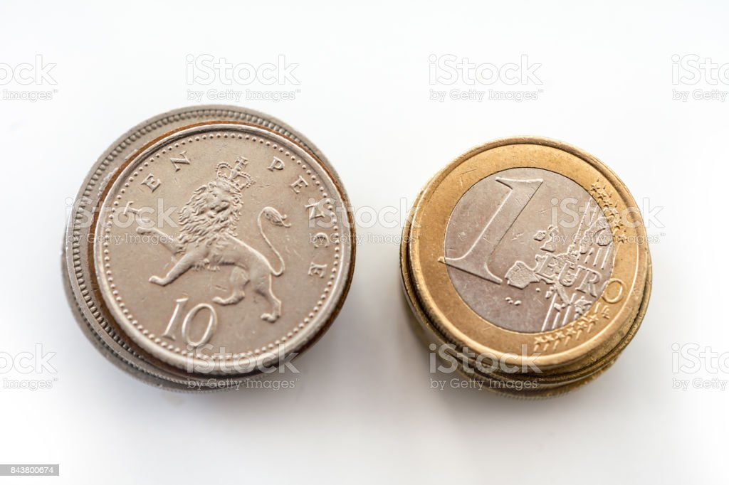 Stack of britain and euro coins stock photo