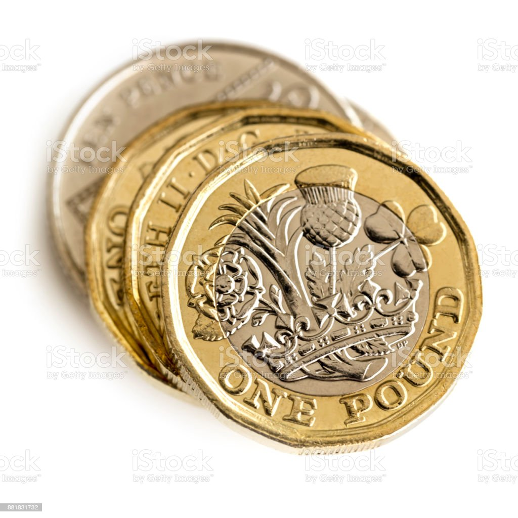 Stack of British Coins Isolated on White Top View stock photo
