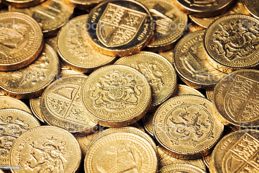 Stack of British Pound Coins stock photo