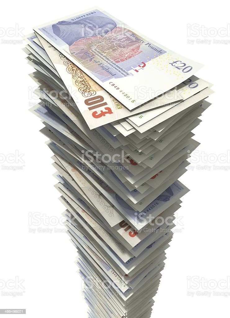 Stack of British Pounds stock photo