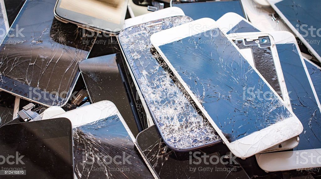 Stack of broken glass displays stock photo