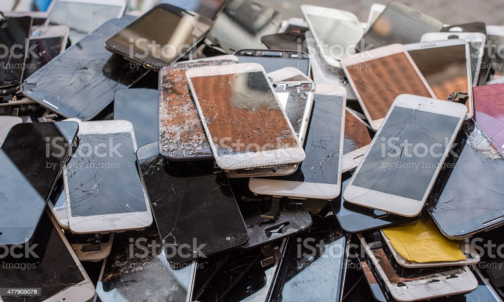 Stack of broken screens stock photo