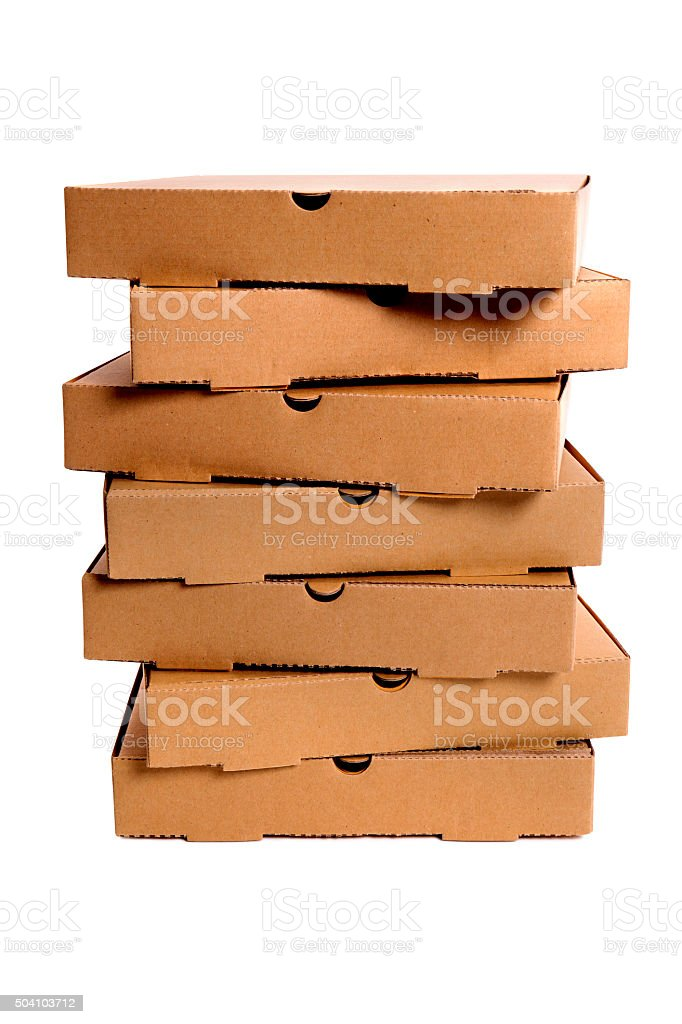 Stack of brown pizza boxes stock photo