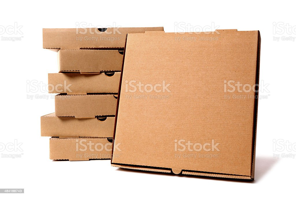Stack of brown pizza boxes with display box royalty-free stock photo