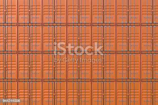 944243850 istock photo Stack of brown ship cargo containers background 944244006