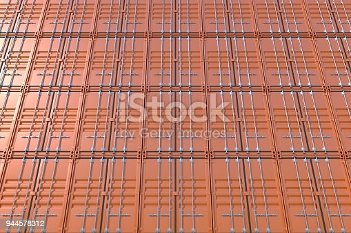 944243850 istock photo Stack of brown ship cargo containers background 944578312