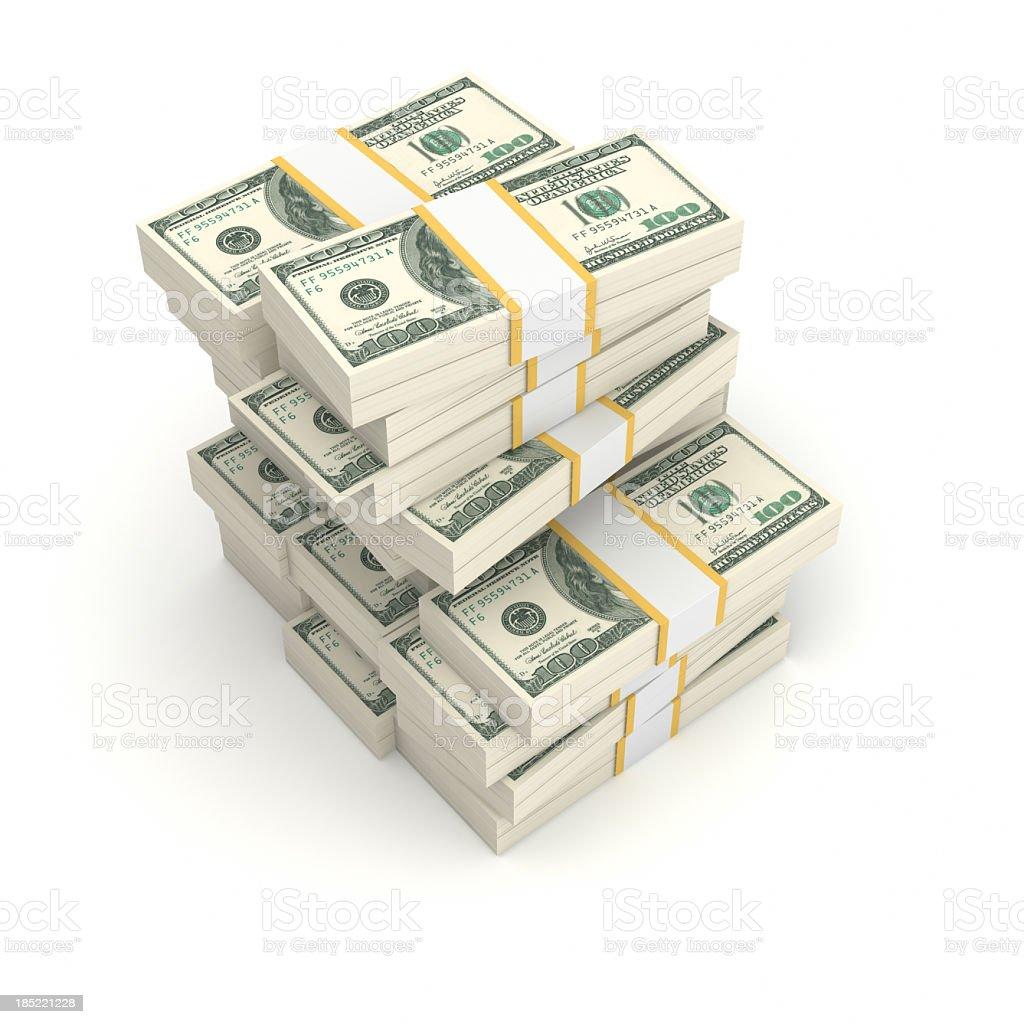 Stack of bundled dollar bills royalty-free stock photo