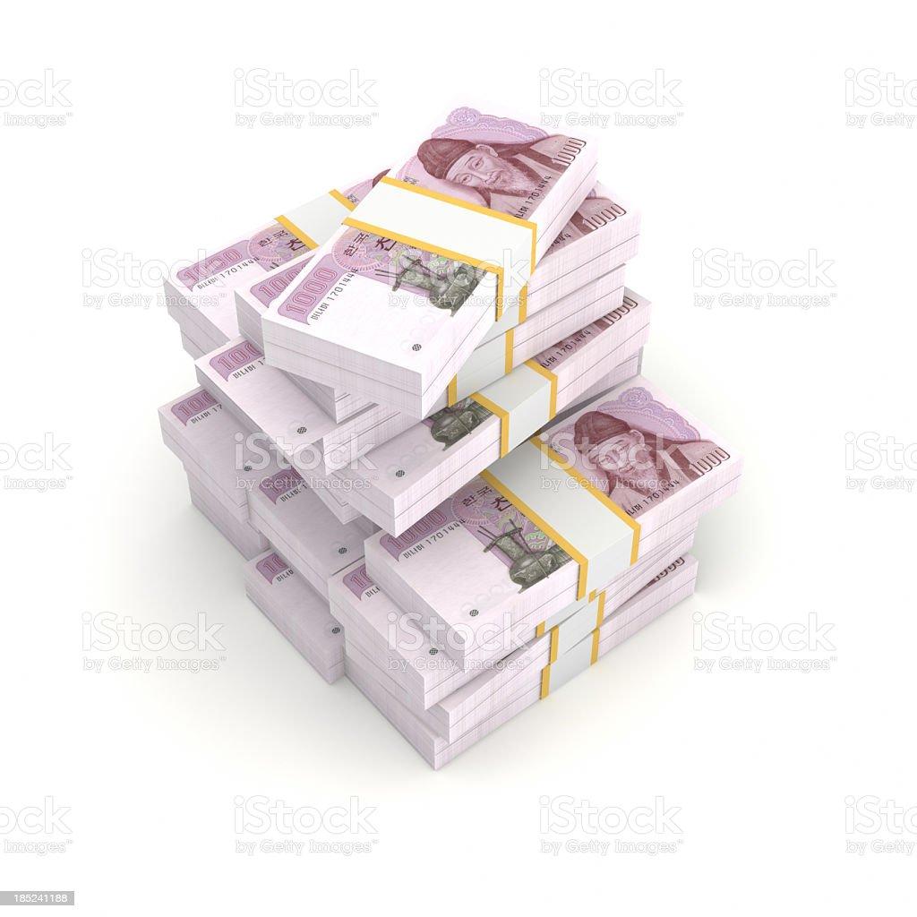 Stack of Bundled Korean Won Bills royalty-free stock photo