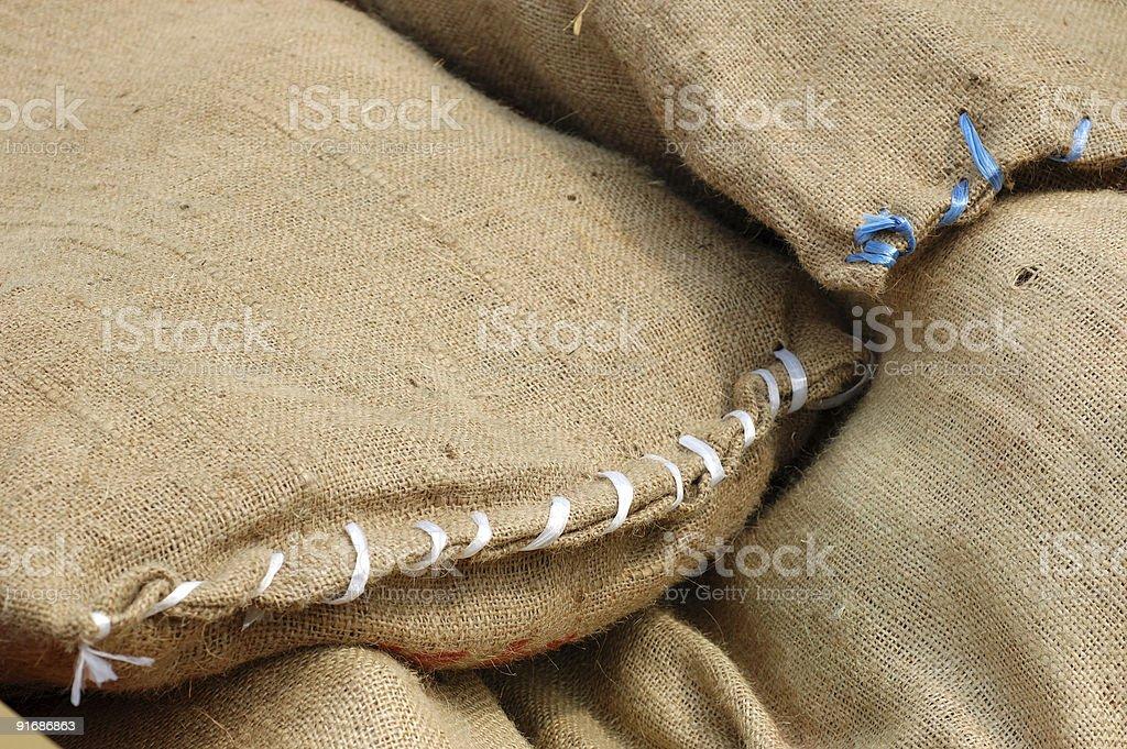 Stack of burlap bags royalty-free stock photo