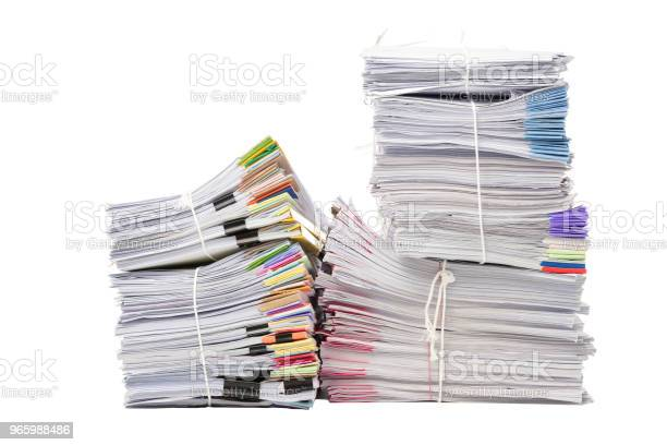 Stack Of Business Document Papers Isolated On White Background Stock Photo - Download Image Now