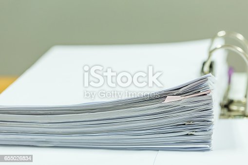 istock Stack of business report paper files 655026834