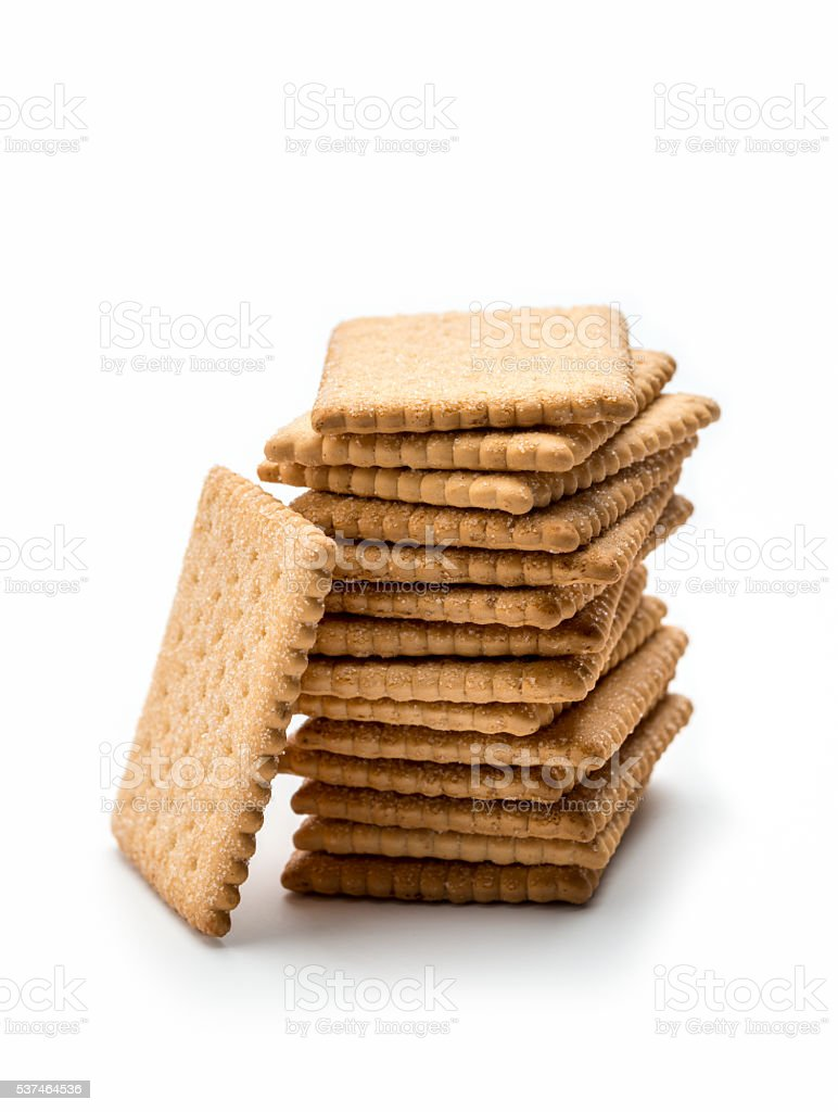 stack of Butter Biscuits isolated on white. stock photo