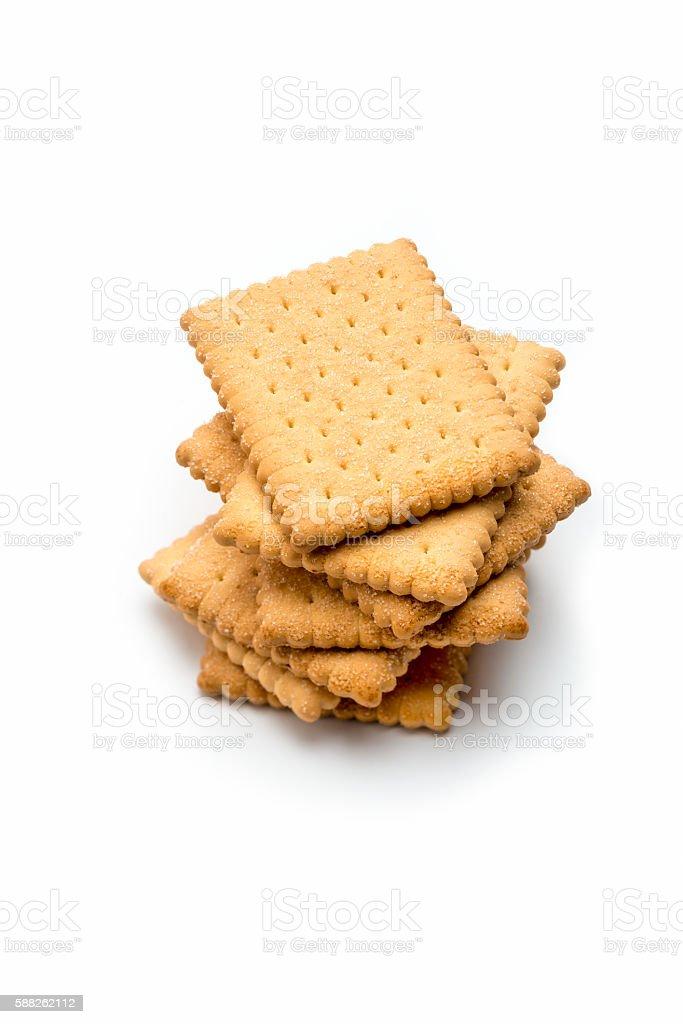 Pilha de manteiga biscoitos Isolado no branco. - foto de acervo