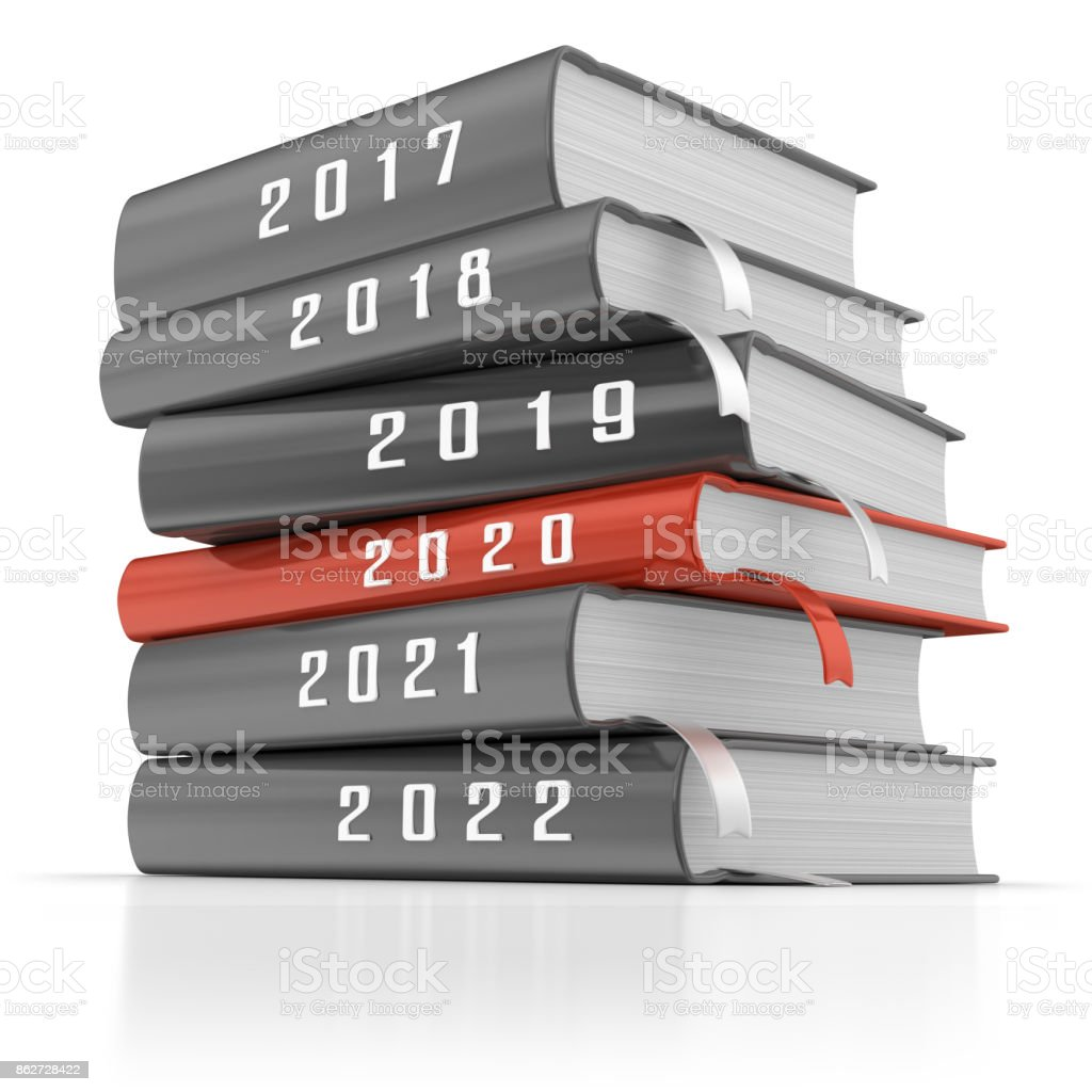Stack of Calendars for Six Years. stock photo