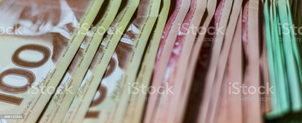 Stack of Canadian Cash stock photo